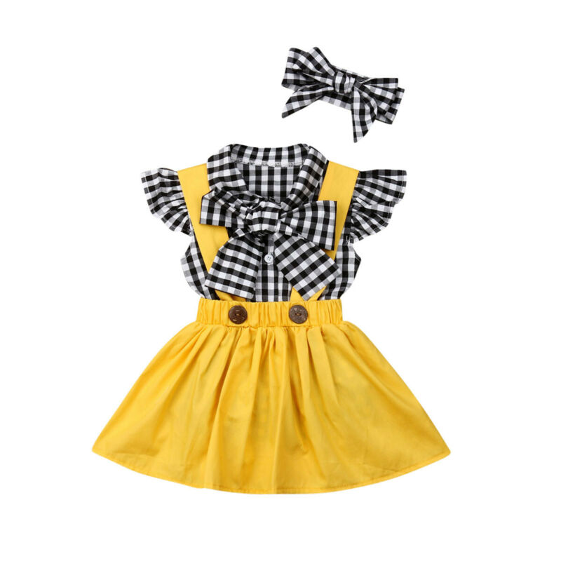 0-3Years Toddler Kids Baby Girl Checks T-shirt Top Skirt Dress Headband Outfit Clothes
