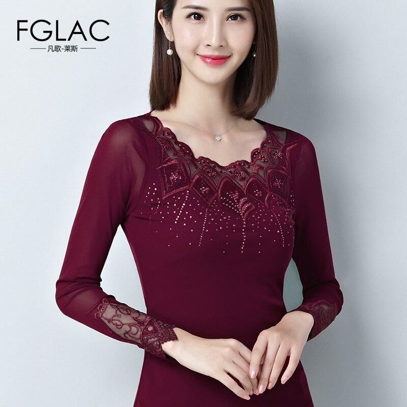 FGLAC Autumn   blouse     shirt   Fashion Casual long sleeve Mesh tops Elegant Slim Hollow out Lace   shirt   Plus size Diamonds Blusas