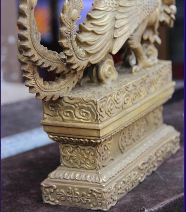 """10/"""" China Feng Shui Brass Copper Flower Beautiful peacock Bird Lucky statue"""