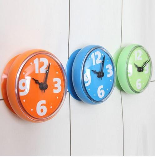 € 15.62 |Horloge murale étanche créative salle de bain horloge murale  étanche ventouse ronde mini ventouse petite horloge murale-in Horloges ...