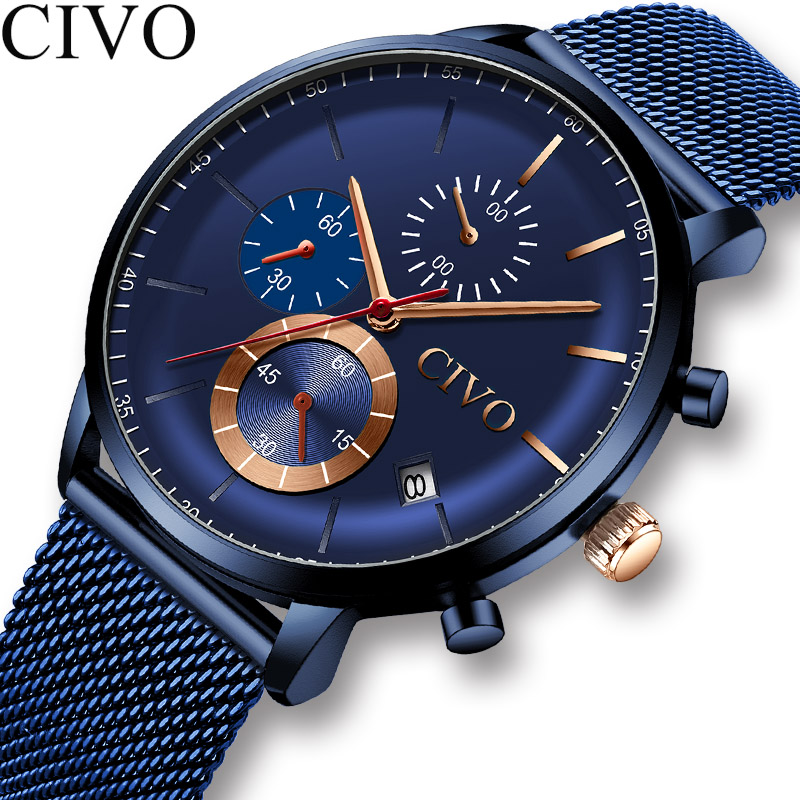 Reloj Hombre CIVO Watches Mens Sport Waterproof Watches Top Brand Luxury Date Week Display Chronograph Men Military Wrist Watch