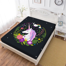 Girls Sweet Unicorn Bed Sheet Kids Cartoon Fitted Sheet Colorful Floral Print Mattress Cover Deep Pocket Home Textile D25 цена