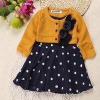 Bán Hot toddler mùa đông và mùa thu quần áo dài tay áo 3d flower trẻ sơ sinh mùa đông gái đan váy ấm