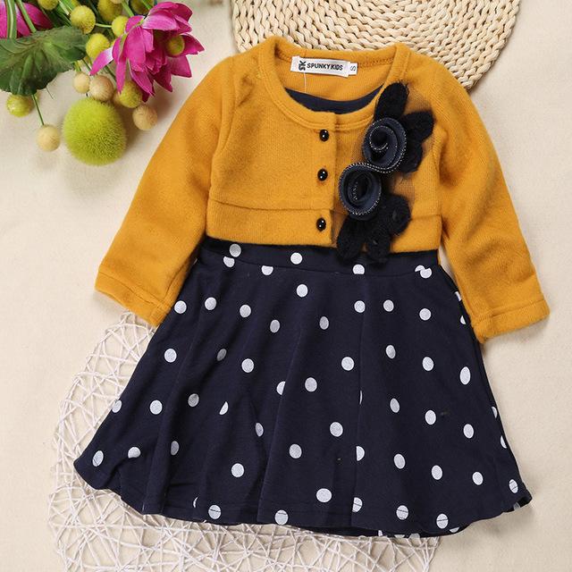Venta caliente del niño del invierno y otoño ropa de manga larga 3d flor infantil de invierno niñas vestido de punto caliente