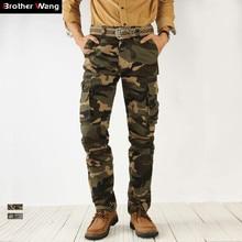 2020 outono nova camuflagem calças de carga dos homens alta qualidade moda casual em linha reta algodão marca tático masculino