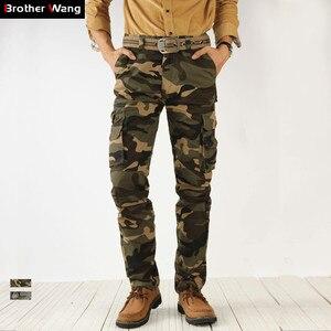 Image 1 - 2020 outono nova camuflagem calças de carga dos homens alta qualidade moda casual em linha reta algodão marca tático masculino