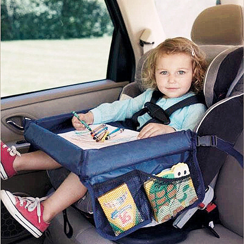 Bandeja de asiento de coche a prueba de agua Almacenamiento de juguetes para niños soporte de cochecito para niños comedor y bebida en el coche KM2005