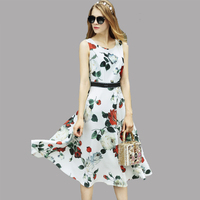 Fowice 2017 Spring Summer Elegant Flowers Print Sleeveless Slim Tank Dress Mid Calf Length O Neck