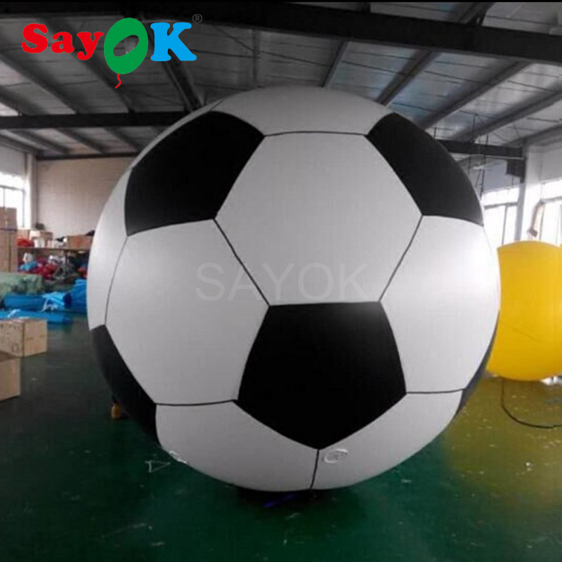 Sayok 1.5m/2m Giant Inflatable Football Model PVC Balloon Helium Soccer Ball for Fun Beach Pool Sports Advertising Decoration