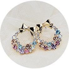 2018 New Colorful Imitation Crystal Rhinestone Bow Stud Earrings(China)