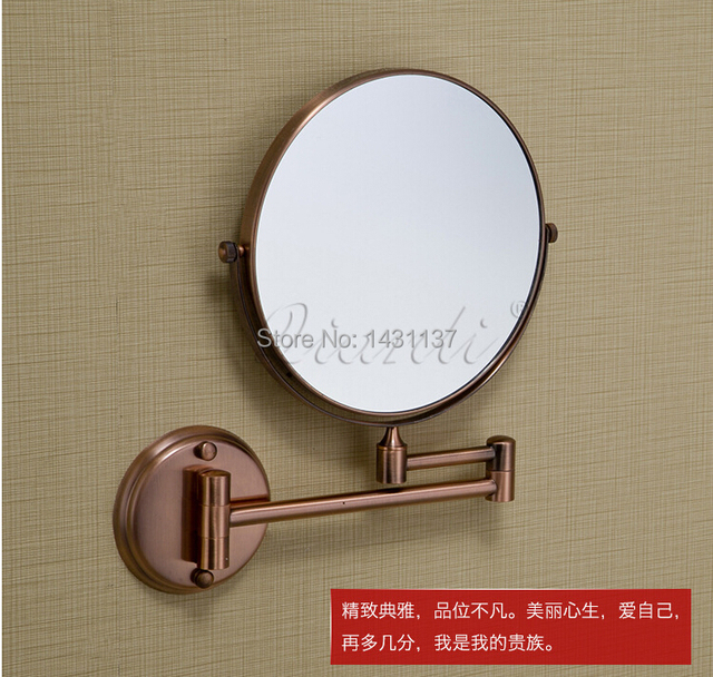 "8"" anti brass Double Side Bathroom Folding Mirror gold plating Wall Mounted Extend with Dual Arm1x3x Magnifying"