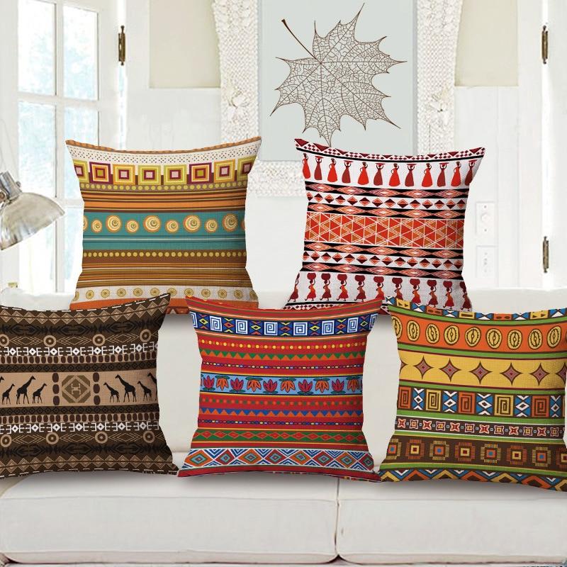 bohemio tnico africano patrn almohada casa bar restaurante decorativa almohada de algodn colorido creativo