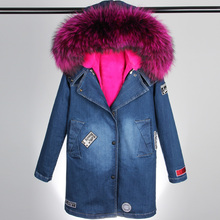 2016 new winter Fashion real raccoon fur collar solid denim jacket hoodie coat long cotton padded Parka female SMLXL big size