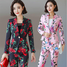 Business Suits,Women Civility Formal Floral Printiing Pant Suits