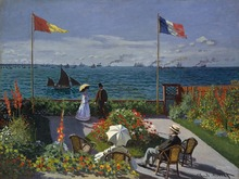 The Terrace at St. Adresse by Claude Monet Handpainted