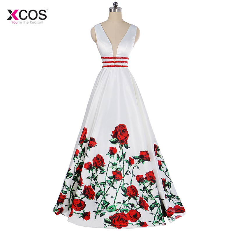 Printed Floral Satin Evening Dresses Long V-Neck Beading Prom Dress Floor Length A Line Formal Special Occasion Party Gown