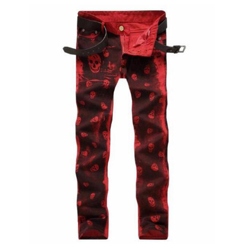 MORUANCLE New Fashion Mens red Skull Painted Jeans Pants Stretch Hi Street Hip Hop Denim Trousers For Man Skull Printed