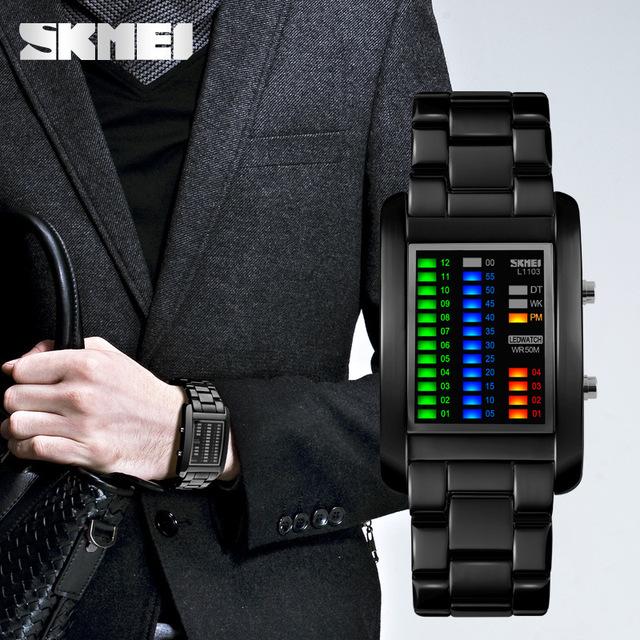 Binary Sport Watches Men's Fashion LED Watch Electronic Silver Tungsten Black Steel Clock Waterproof Outdoor COOL Man Wristwatch