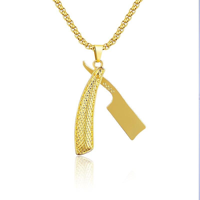Fashion Personality Hip Hop Golden Barber Shop Scissor Razor Blade Pendants Necklace Women Jewelry Vintage Punk Necklace