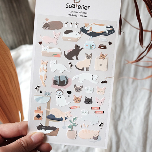 Meow Cute Kitty Decorative Sticker Diary Album Label Sticker DIY Scrapbooking Stationery Stickers Escolar