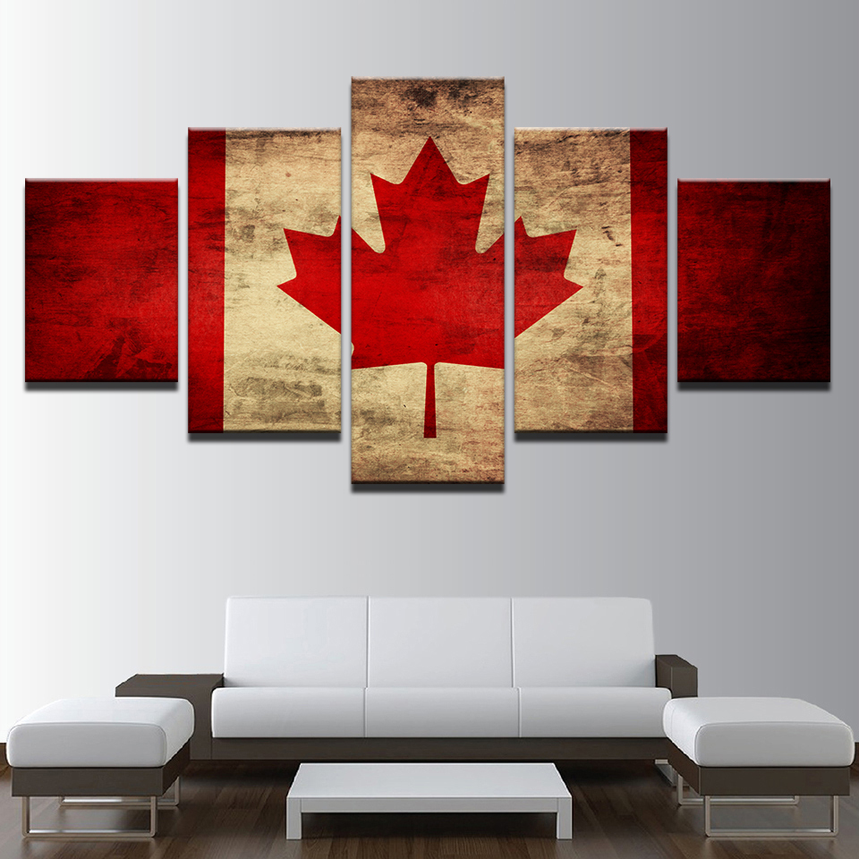 Canvas wall art modular maple leaves pictures 5 pieces flag of canada paintings living room decor hd printed retro poster framed