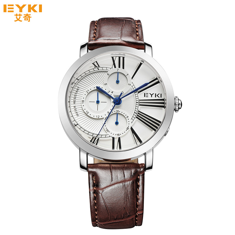 Eyki Luxury Brand Week Date Clock Leather Strap Casual Business Sport Watch Fashion Men Quartz Watches Male Relogio Masculino nary fashion watch leather strap men s watches quartz clock womens watch double calendar with date week lovers casual wristwatch