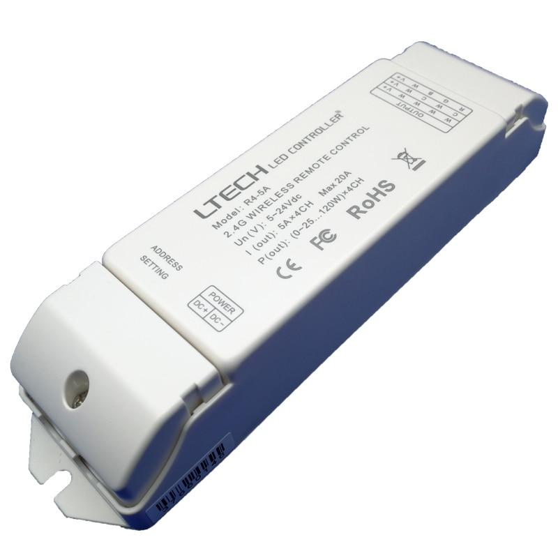 New Led Rgb Controller R4-5A CV Receiver 2.4G Wireless Receiving Wifi Lighting System Dimming Controller,DC5-24V 4CH Dimmer dmx512 digital display 24ch dmx address controller dc5v 24v each ch max 3a 8 groups rgb controller