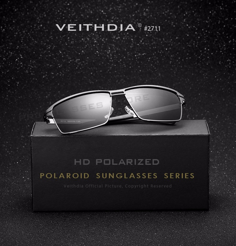 VEITHDIA Stainless Steel Men's Sun Glasses Polarized Oculos masculino Male Eyewear Accessories Sunglasses For Men gafas 2711