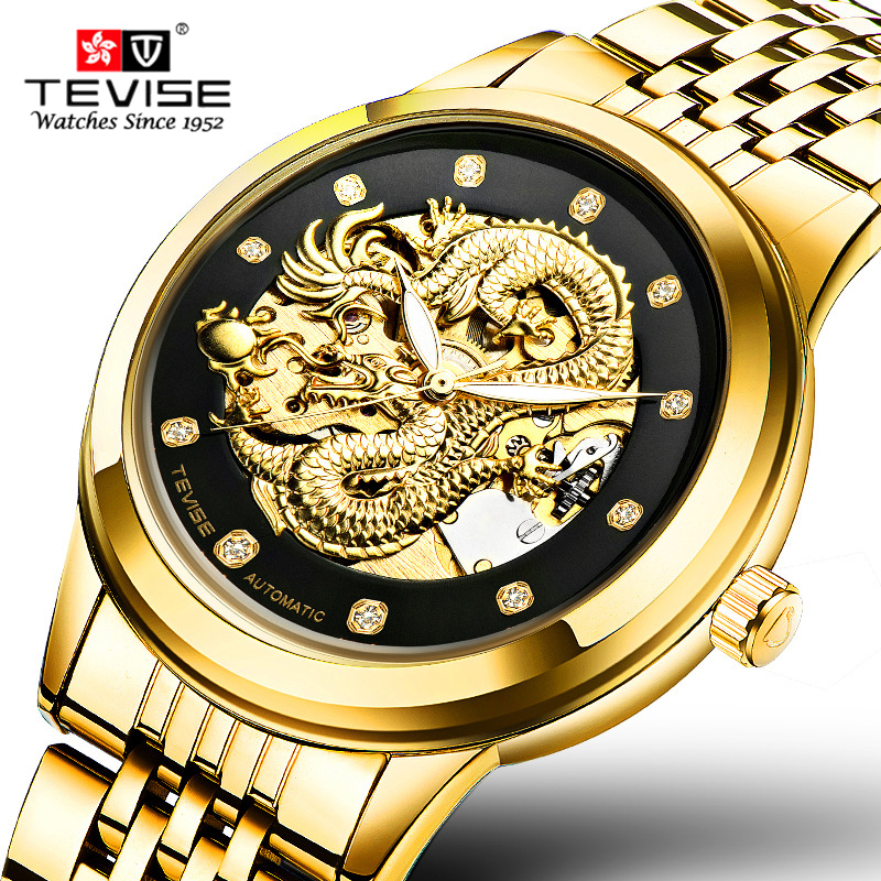 relogio masculino Genuine TEVISE Mens Watches Top Brand Luxury Gold Dragon Sculpture Mechanical Watch Men Full Steel Wristwatch одеяло двуспальное primavelle rosalia