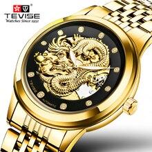 TEVISE Relojes Para Hombre de Primeras Marcas de Lujo relogio masculino Genuino Escultura Del Dragón de Oro Reloj Mecánico de Hombres Reloj de Acero Completo