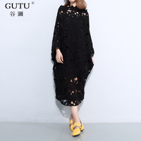 GUTU 2017 Summer New Long Sleeved Hollow Out Slash Collar Solid Color Batwing Sleeves Long
