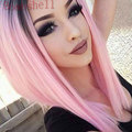 Short Bob Wigs Ombre Pink Two Tone Color Silk Straight Lace Front Synthetic Wigs Black Roots Heat Resistant For Fahion Women