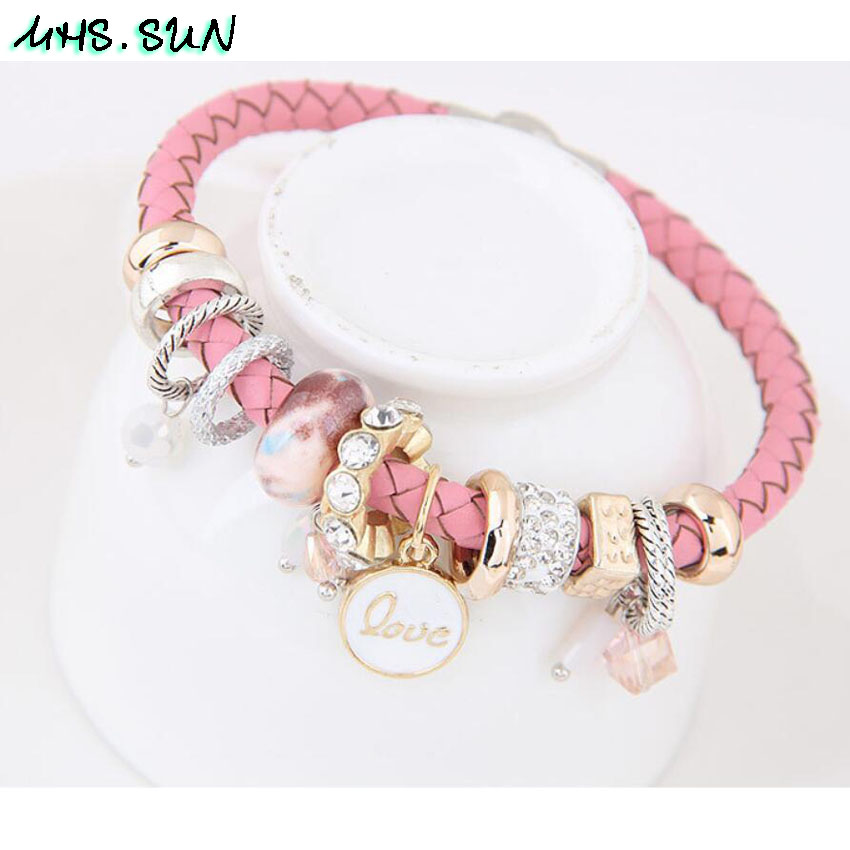 5-4Fashion Women Leather Bracelets Bangles With Beads Crystal Ethnic Bohemia Bracelets Girls All-Match Jewelry For Gift