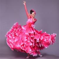 360 Degree Spanish Bullfight Belly Dance Dress Skirt Long robe Flamenco fille Skirts Red Flamenco Dresses For Women Girls L189