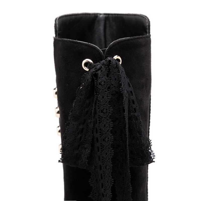 Noir Chaussures Bottes Hauteur Mode Haute Croissante De Bout Genou Troupeau Rond Liée Femmes Asumer Bal Dames Croix 354ARcqjL