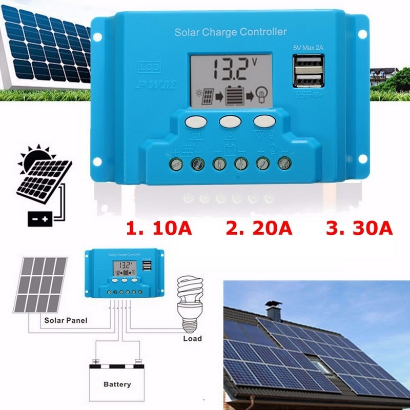 10A 20A 30A Solar Panel Charger Controller 12V 24V Solar Regulator PWM Solar Panels LCD Dual USB Output solar power panel controller pwm 10a dual usb output mobile phone charging hd display wwo66