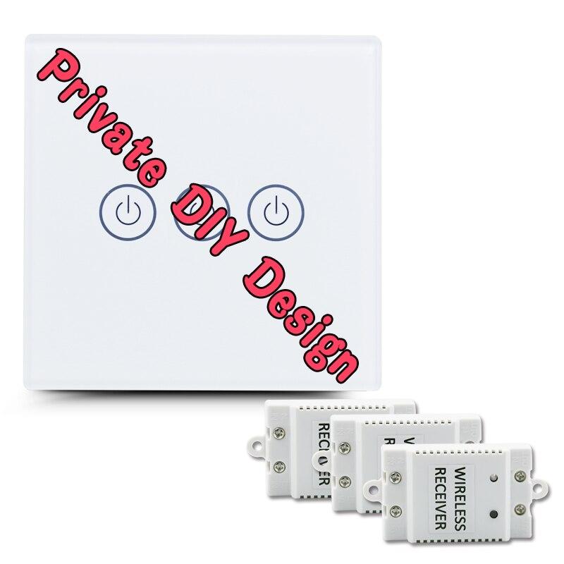 Saful bricolage Design interrupteur tactile sans fil 3 voies interrupteur de luxe en verre longue Distance avec 3 récepteurs interrupteur tactile de lumière murale