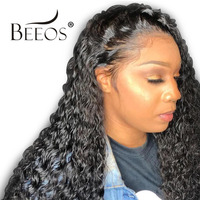 Beeos Lace Frontal Wig 250% Density Lace Front Human Hair Wigs Pre Plucked With Baby Hair Curly Brazilian Hair Remy