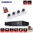 HKIXDISTE 4CH HD 5MP Home Security Cameras System With Hard Drive and 4Pcs 5.0MP 2560*1920p Indoor Outdoor Dome CCTV Cameras Kit
