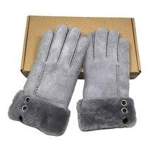 100% Pure Sheepskin Winter Gloves Women Real Cashmere Fur Warm Ladies Full Finger Genuine Leather mitten gloves Gift NM5