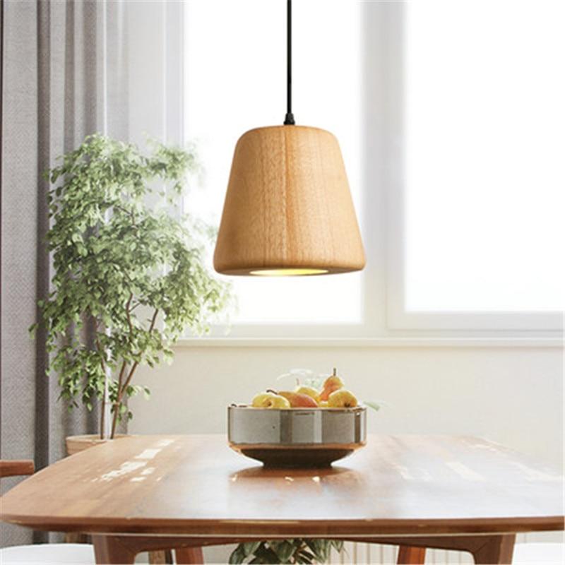 Simple Loft Style Modern LED Pendant Light Fixtures Dining Room Wood Droplight Japanese Single Head Hanging Lamp Home Lighting