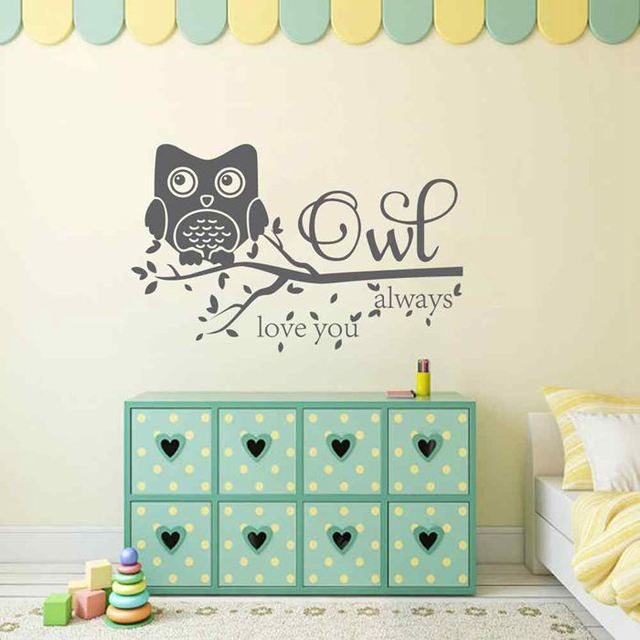BATTOO Owl Always Love You Wall Decal Quote Owl Wall Murals Nursery