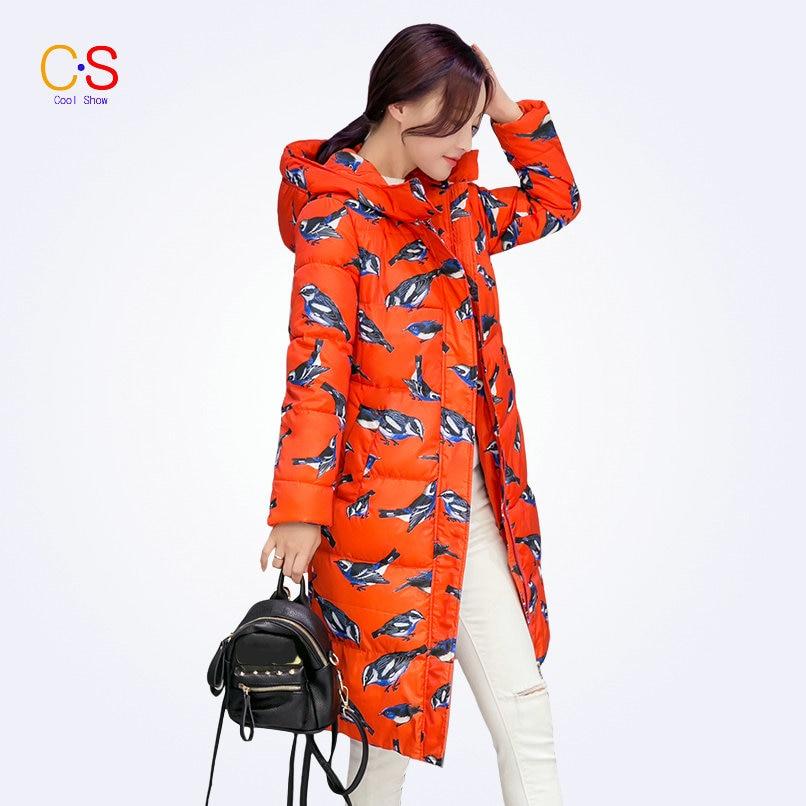 ФОТО Long Style Women Coat With Bird Print Ladies Hooded Neckline Jackets Slim Fit Female Outwears Down Parkas