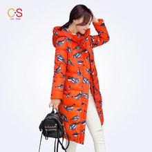 Long Style Women Coat With Bird Print Ladies Hooded Neckline Jackets Slim Fit Female Outwears Down Parkas