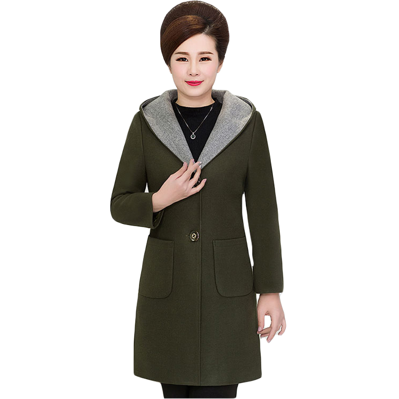Women's 2 Button Wool-Blend Coat with Pockets 5XL Plus Size Hooded Woolen Coat Overcoat Long Jacket for Mother 2017 Winter XH638 футболка с полной запечаткой мужская printio dota 2 lina on fire