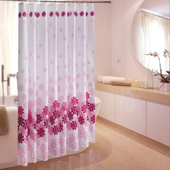 Peach Blossoming Thick Waterproof Mildew Thick Green Shower Curtain Bathroom Shower Partition