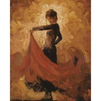 hand-painted Canvas art abstract portrait paintings for living room FLAMENCO modern woman artwork
