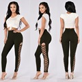 European style bodysuit women leggings side lace up bandage bodycon jumpsuit fashion women clothing 3127
