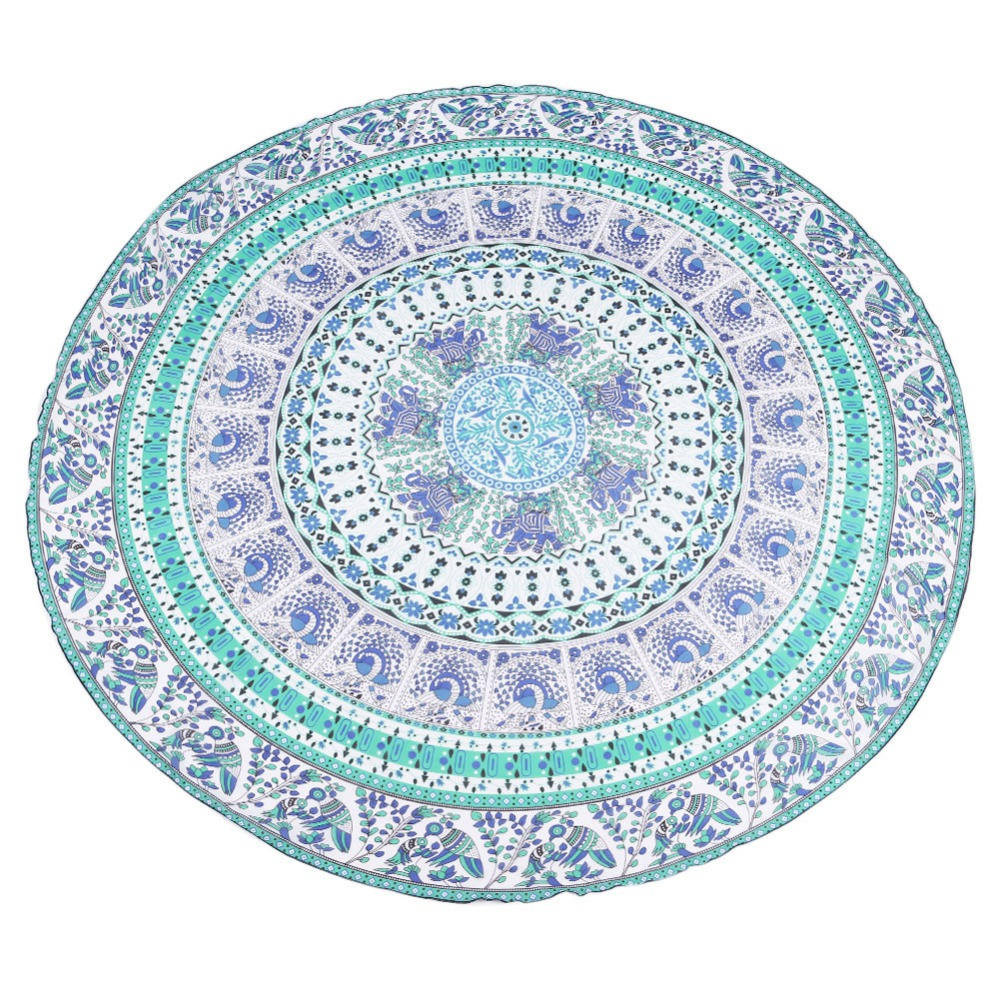 Round Beach Blanket Towel Tapestry Hippy Boho Gypsy Polyester Tablecloth Beach Throw