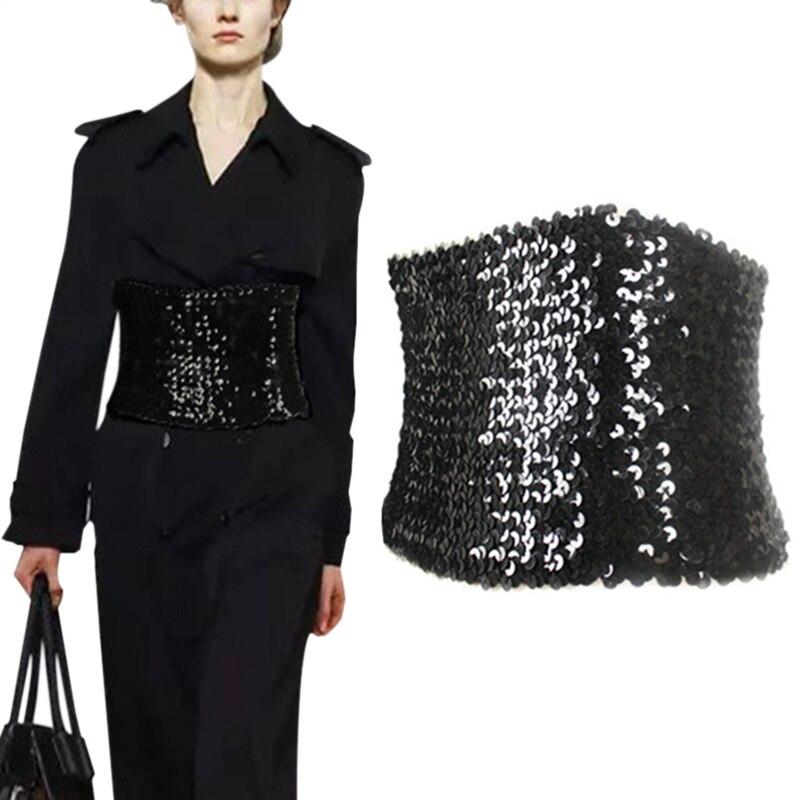 משלוח חינם לנשים חדשות סופר רחב רצועה דקה חגורת קשור פאייטים מועדון לילה מחוך שחור מחוך אבנט חגורת המותניים חגורות Mujer Vestidos